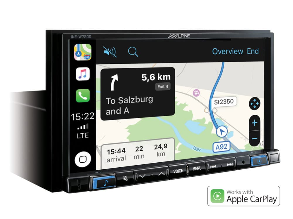 Navigation-System-INE-W720D-Apple-CarPlay-Map